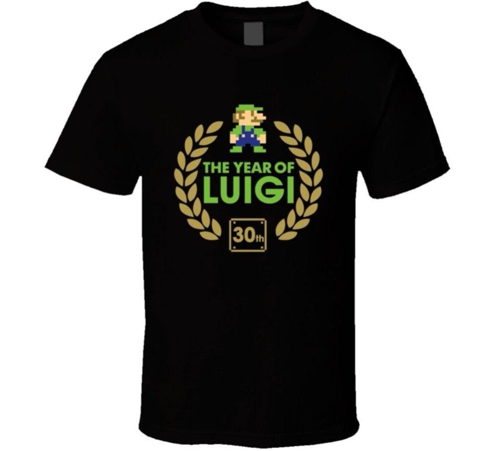 Мода смешно Футболки Super Mario Bros Луиджи 30TH Юбилей ne футболка хлопок футболка лозунги индивидуальные рубашки для мужские