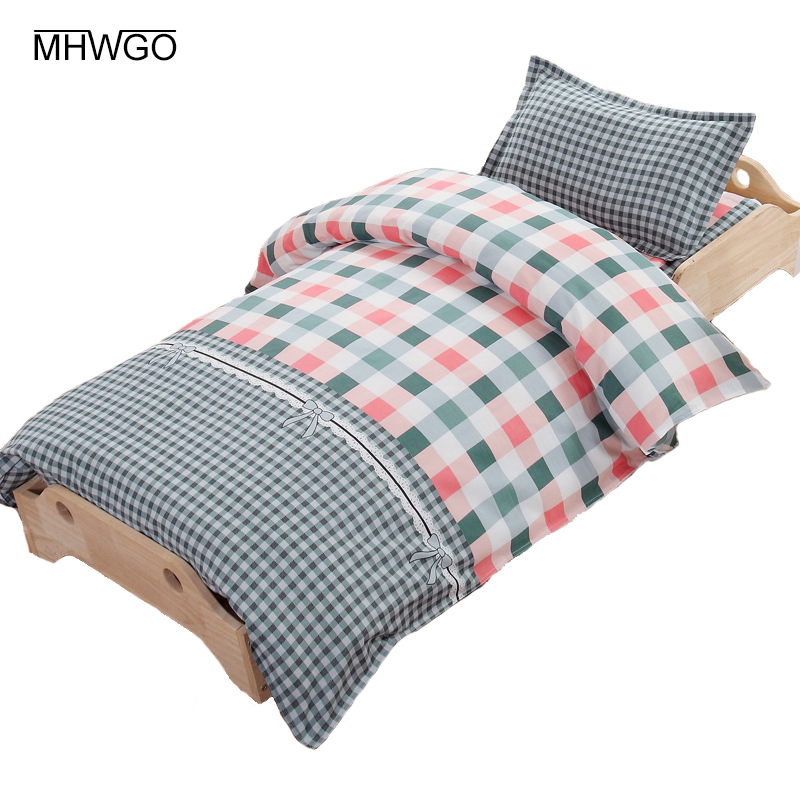 MHWGO 3 Pcs Set Baby Bedding Set Pure Cotton linen For Children Baby Room Children's Bed linen Without Filler Cartoon Pattern матрасы boom baby linen bio