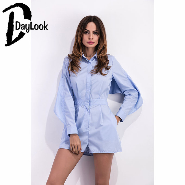 a07095862c DayLook New Arrival Summer Slim Fitted Light Blue Rompers Womens High Waist  Jumpsuit Backless Elegant Playsuit Long Sleeve