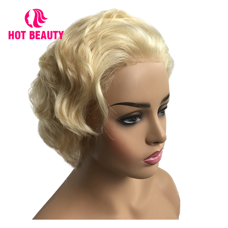 Hot Beauty Hair Full Lace Frontal Wig 613# Blonde Human Hair Wigs Short Cut Brazilian Remy Straight Hair for Women(China)