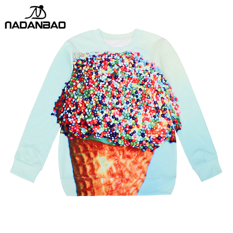 NADANBAO New Arrival Women Hoodies high quality 3D Print Ice Cream Pullovers Sweatshirts star Molten