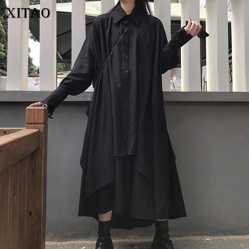 XITAO 2 Piece Set Women Irregular Plus Size Shirt Clothes 2019 Fashion Elastic Waisted Black Skrit Minority Autumn New WLD2284