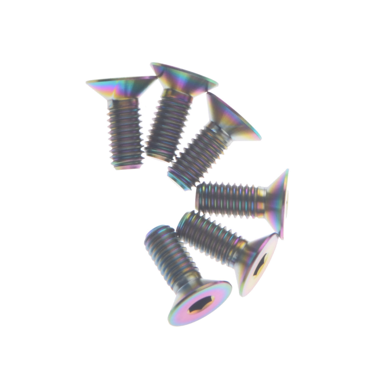 6Pcs M6X15mm Rainbow Titanium Ti M6 Bolts Mountain Bike Bicycle Allen Hex Screw