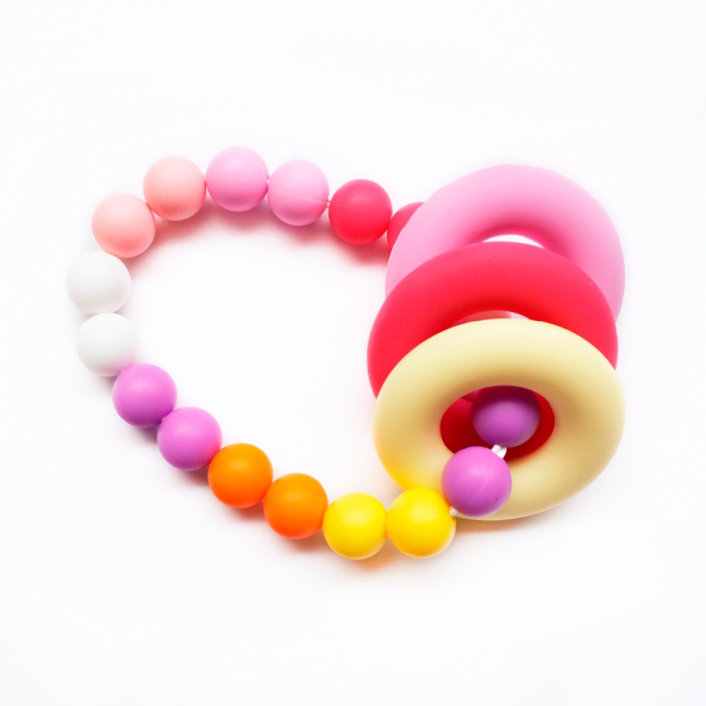 Doughnut Silicone Teething Beads DIY Chewable Necklace Pendent Teether Making
