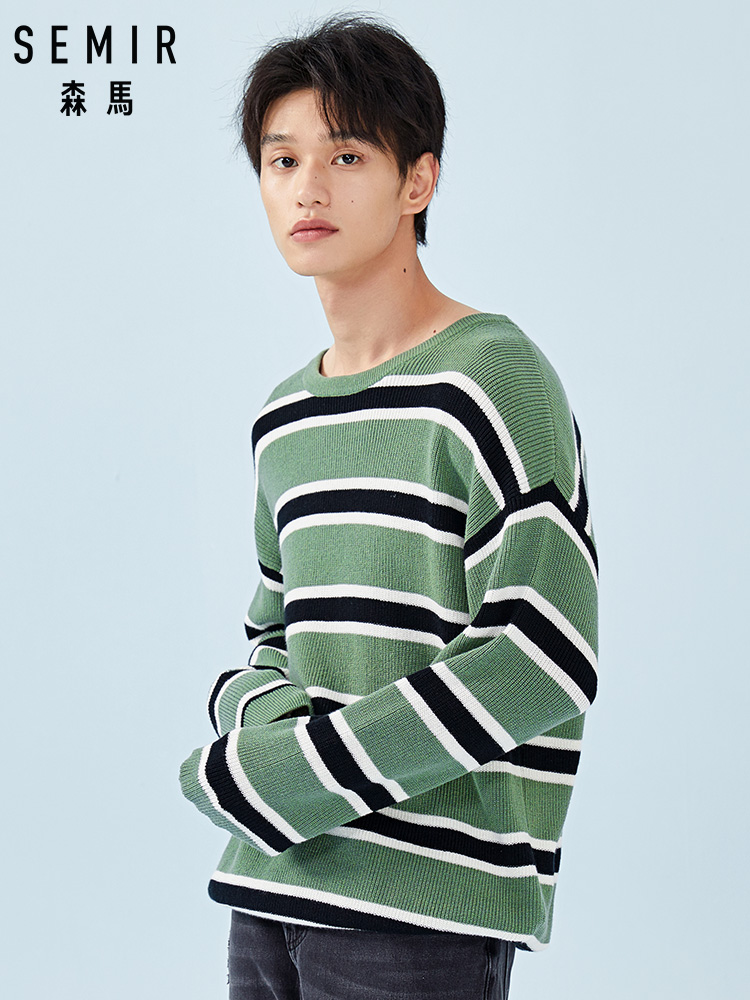 SEMIR Striped Sweater For Men Ribbed-Knit Sweater Pullover Sweater With Dropped Shoulder In Soft Cotton Fashion For Spring