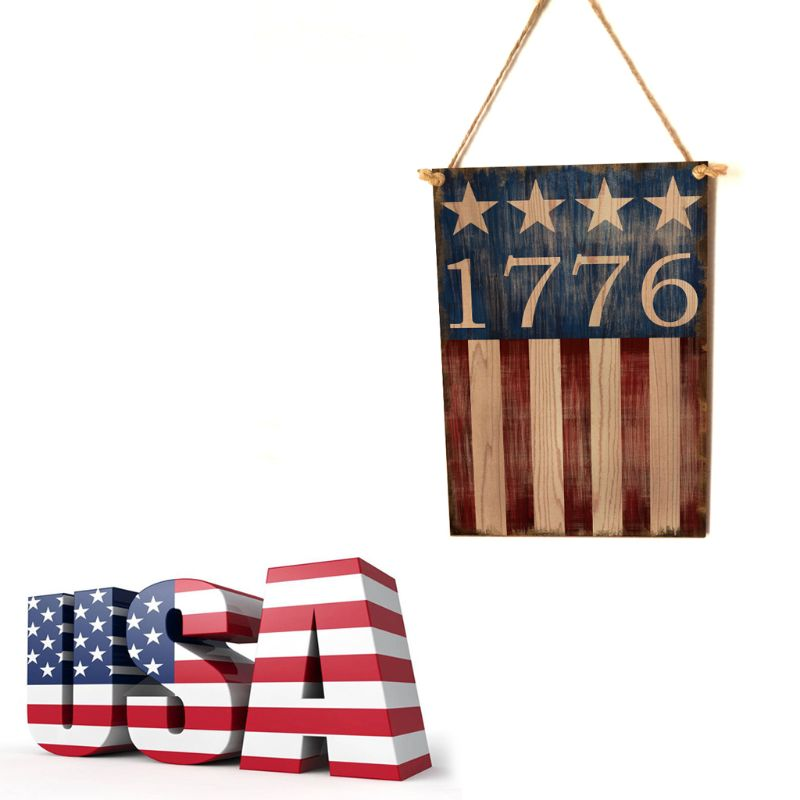 Image 5 - Vintage Wooden Hanging Plaque 1776 Sign Board Wall Door Home Decor Independence Day Party Gift-in Plaques & Signs from Home & Garden