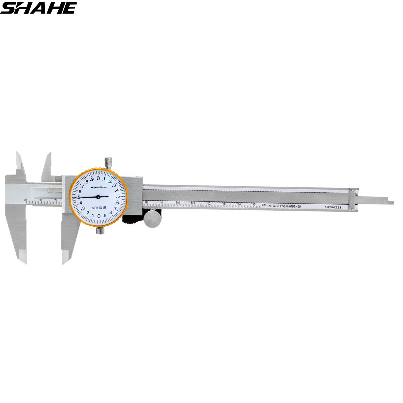 SHAHE 6 inch dial caliper 0.02 mm stainless Steel Dial Gauge Vernier Caliper Shock proof Metric Gauge Measuring Tools dial caliper 0 200mm 0 02 metric stainless steel shock proof measurement gauge calipers