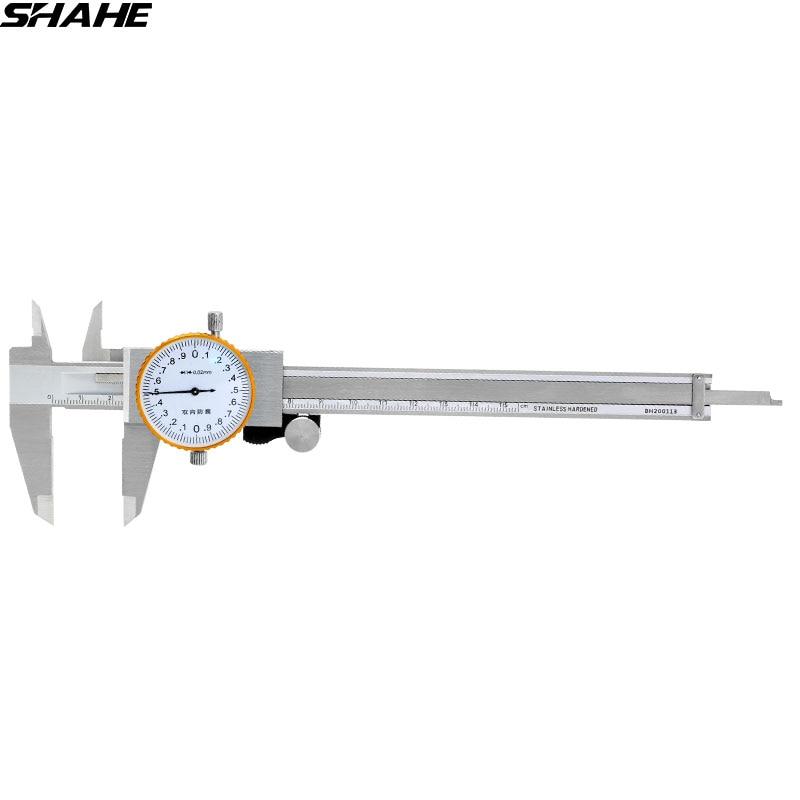 SHAHE 6 pollice quadrante calibro 0.02mm in Acciaio Inox Quadrante Calibro Vernier Pinza prova di Scossa Metric Gauge Strumenti di Misura