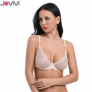 Jovivi Newest Women's Sexy Lace Bra Mesh Delicate Underwire Unlined Demi Bra 1/2 Cup Black / White / Beige / Neon Pink Bra 1pc - DISCOUNT ITEM  17% OFF All Category