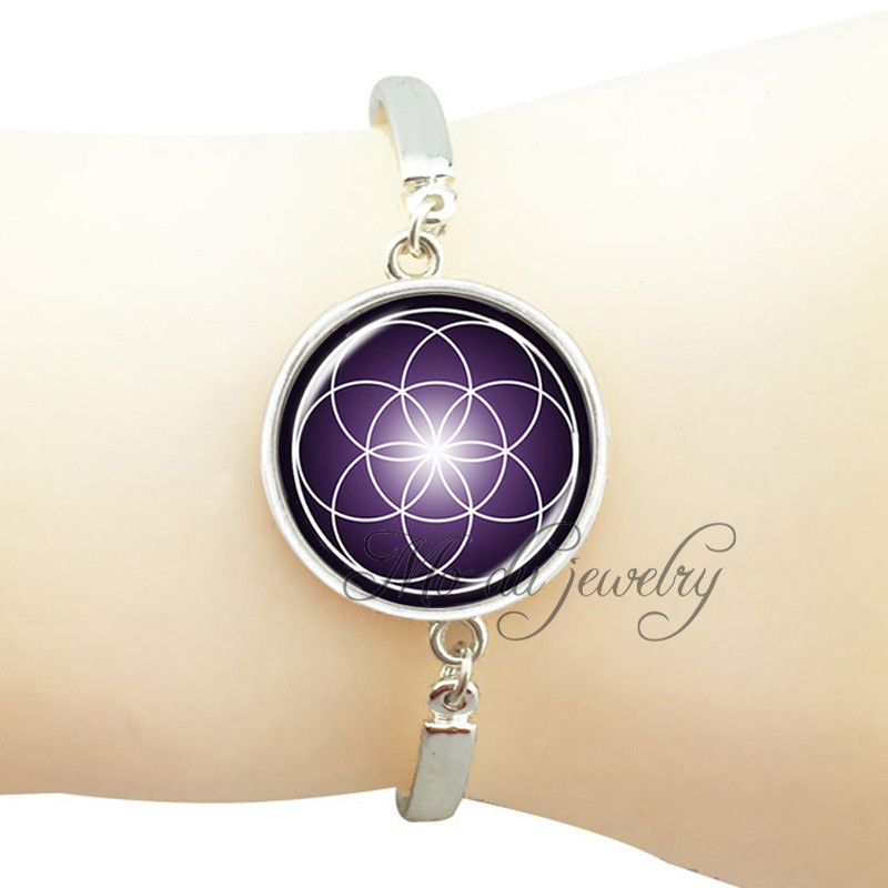 Cooperative Purple Mandala Flower Bracelets Bangles Silver/bronze Plated Hand Chain Wrap Jewelry Glass Dome Bangle Om Yoga Jewelry Pulseiras Careful Calculation And Strict Budgeting Jewelry & Accessories