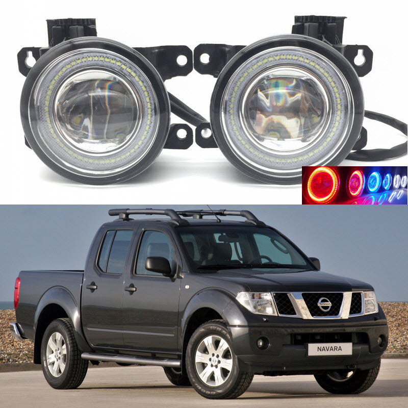 2 in 1 LED Angel Eyes DRL 3 Colors Daytime Running Lights Cut-Line Lens Fog Lamp for Nissan Navara D40 2004-2015 car styling 2 in 1 led angel eyes drl daytime running lights cut line lens fog lamp for land rover freelander lr2 2007 2014