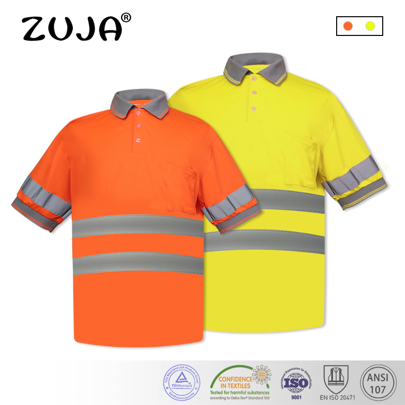 купить Men's hi vis t shirt with reflective stripes Summer breathable Quick dry safety Polo shirt по цене 1094.53 рублей