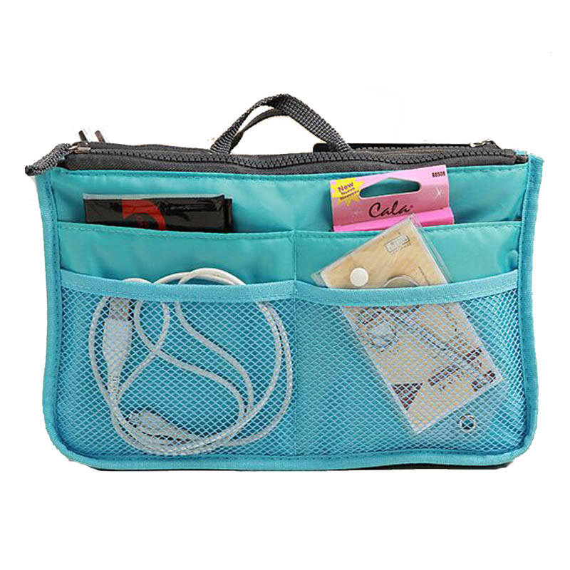 Portable Double Zipper Storage Bag Insert Multifunction Makeup Handbag Women Men Travel Bag in Bag Organizer For Cosmetics