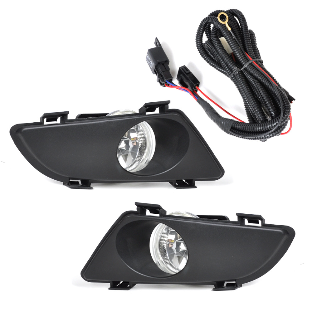 Front Right Left Clear Fog Lights Lamp Lens W  Wiring Kit For Mazda 6 2003 2004 2005