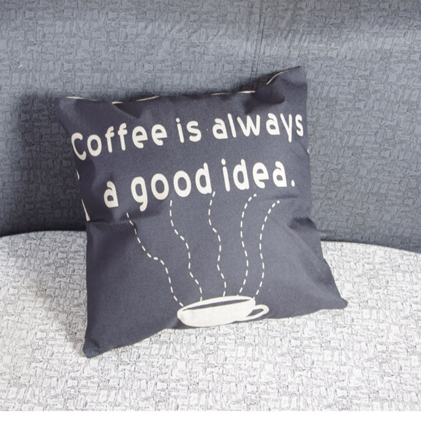 coffee shop bar easy to clean 4444cm line cotton decorative cushion cover coussin decoration waist relax pillow without filler filler cover letter