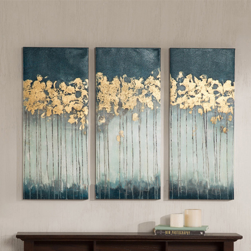 Handmade Wall Painting 3 Panel Trees Pictures Handpainted Abstract Landscape Oil Paintings On Canvas Modern Home Art Large Oils