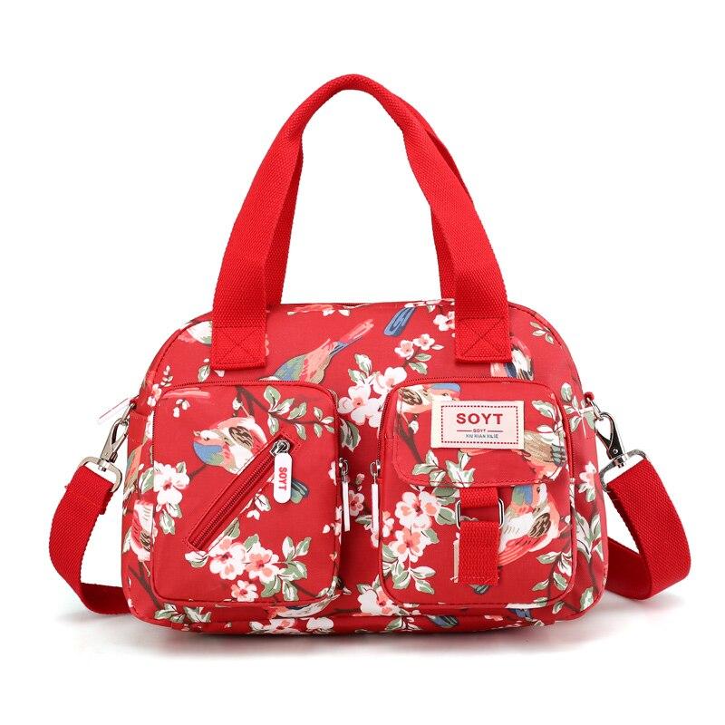 цена на SOYT New 8 Color Fashion Women Handbag Printed Flowers Waterproof Nylon Ladies Messenger Bag Tote Bolsas Brand Shoulder Bags
