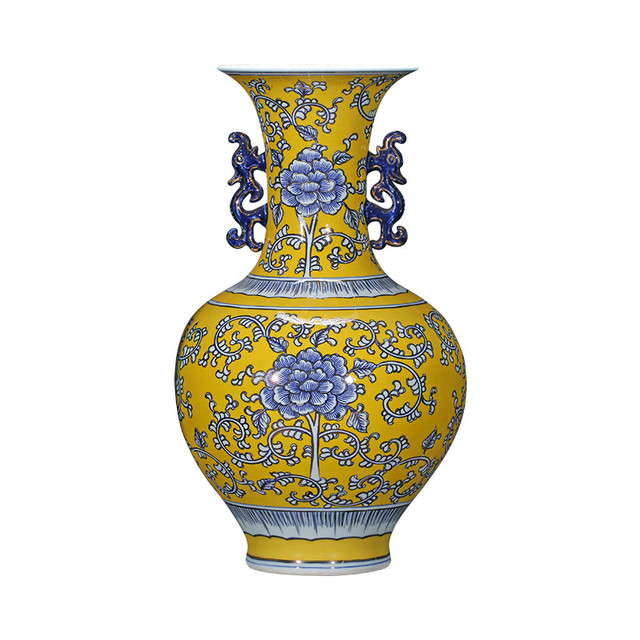 Luxury Chinese Style Yellow Ceramic Vase Hand Painted Blue And White