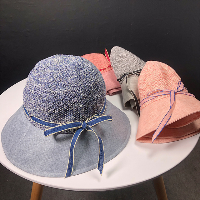 HT1802 New Fashion Women Hats Summer Fisherman Cap Packable Bow Bucket Hats  Ladies Wide Brim Panama Sun Hats Female Fishing Hats 034856c5167