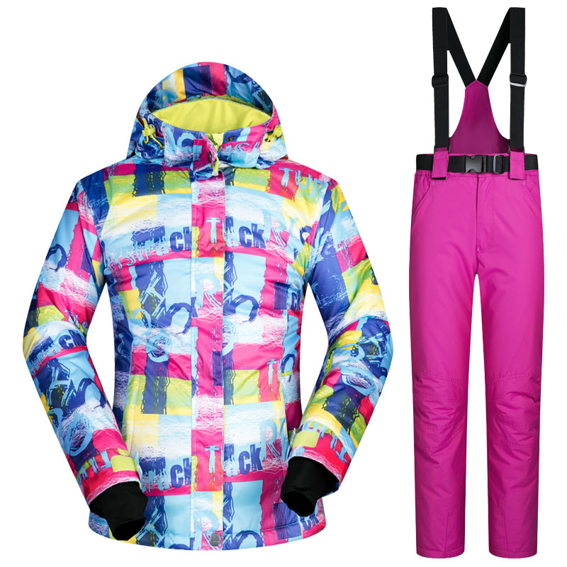 -30 womens skiing suit snowboarding clothes waterproof & windproof winter snow costumes outdoor ski jackets + Suspended Pants gsou snow womens outdoor ski pants high waist denim skiing pants female snowboarding pants thickening windproof waterproof warm