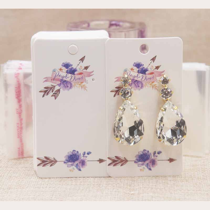 100cards+100oppbagNew Design Colorful Papercoard Delicate Price Tag Display Earring Card Packaging Free Style Custom Board 5x9cm