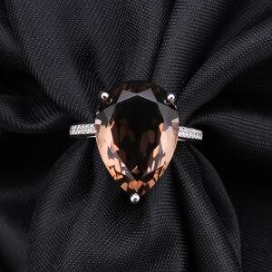 Image 4 - Женские коктейльные кольца с драгоценным камнем, серебряное обручальное кольцо с натуральным дымчатым кварцем, ювелирное изделие для женщин, 10.68ct