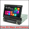 Free 8g maps 7 Universal 1 Din Car Audio DVD Player+Radio+GPS Navigation+radio+Stereo+Bluetooth+DVD Automotivo+SD USB RDS Aux