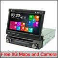 Livre 8g mapas 7 Universal 1 Din Car Audio DVD Player + Rádio + GPS de Navegação + rádio + Automotivo Stereo + Bluetooth + DVD + RDS SD USB Aux
