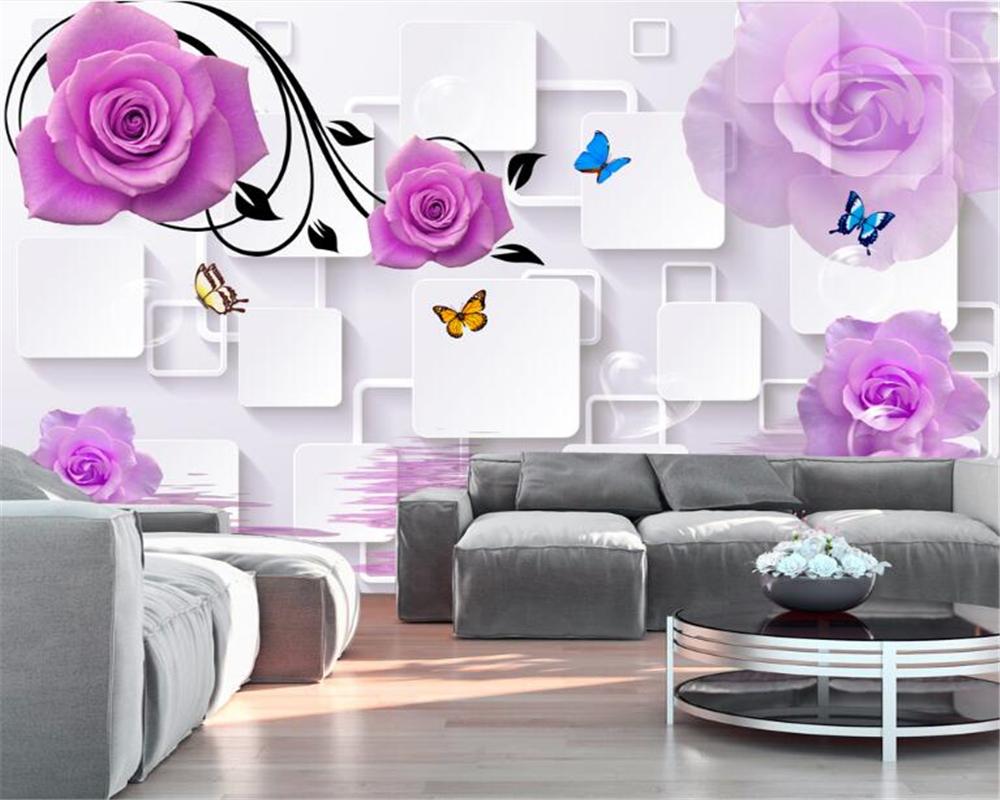 Beibehang Große Dekorative Malerei Lila Rosa Tapete 3D Stereo Würfel Rose  Reflektierende TV Hintergrund Wand 3d