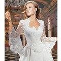 Falante longo Mangas de Renda de Casamento Boleros Jackets Nupcial Xailes Wraps de Noiva Frete Grátis Custom Made