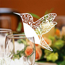 50PCS White Bird Cutting Cup Decor Cards Party Table Cup Glass Name Place Cards Paper Hollow Bird Shape