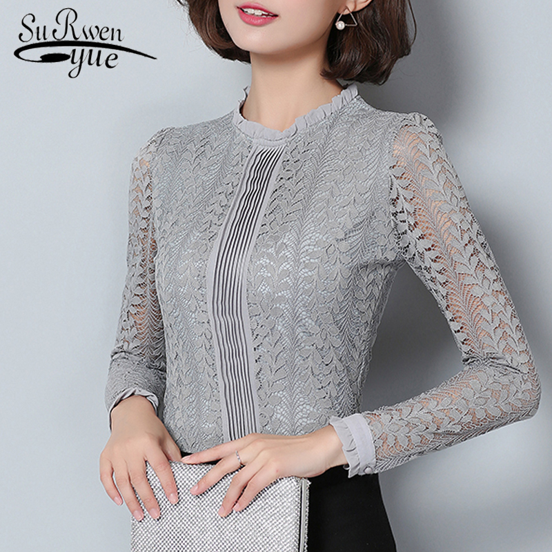 New 2018 fashion lace women   blouse     shirt   long sleeve slim gray women's clothing plus size hollow out women tops bluasa C903 30