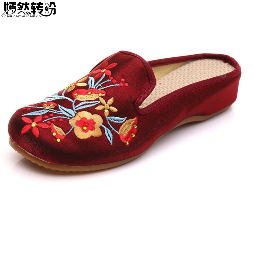 Women Summer Slipprs Faux Suede Shoes Vintage Flower Embroidery Comfort Slip-on Slipprs Cotton Retro Ladies Slide Shoes