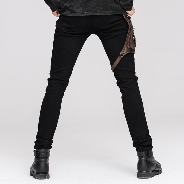 Devil Fashion Punk Leather Pants Men With Hip Holster Pocket Casual Vintage Halloween Stitched Casual Pants Men Tactical Pants 6