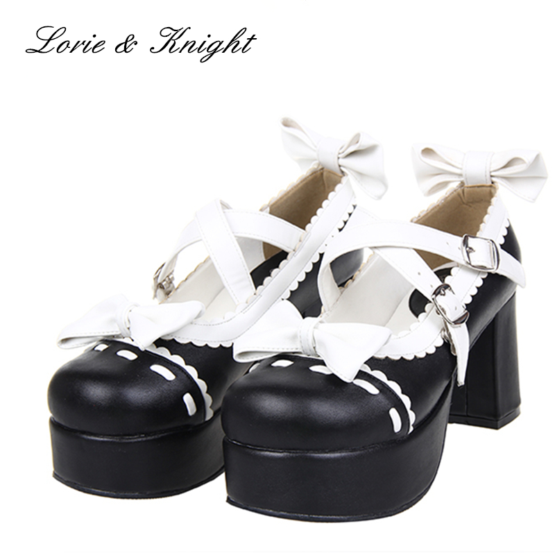 цены Japanese Sweet Lace Trim Criss Cross Ankle Strap Lolita Shoes High Heels Women Pumps