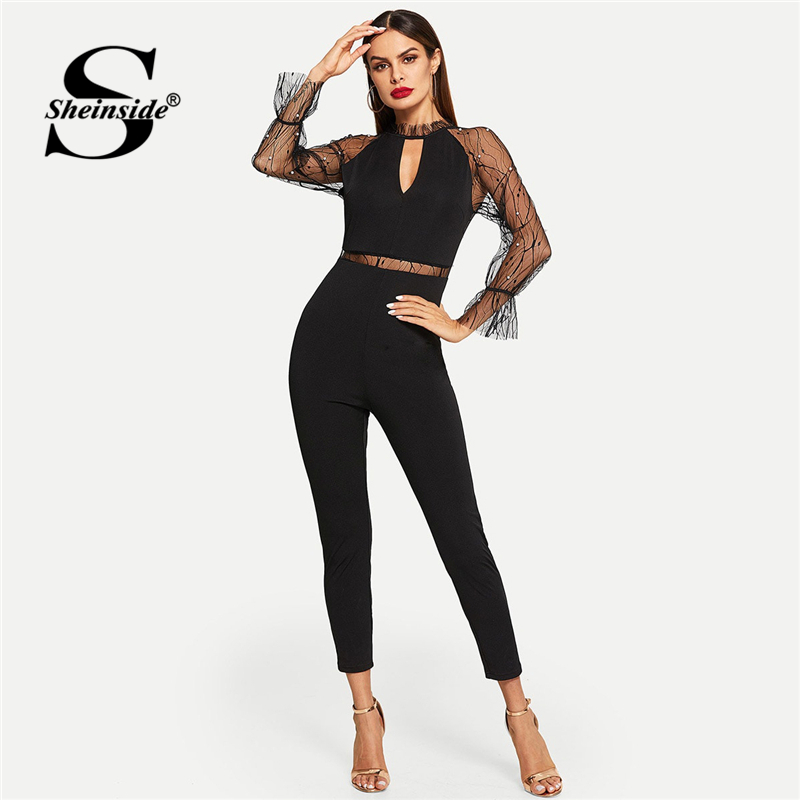 Sheinside Pearls Beaded Mesh Contrast Solid Elegant   Jumpsuit   Sexy Black   Jumpsuits   For Women 2019 Mid Waist Long Sleeve   Jumpsuit