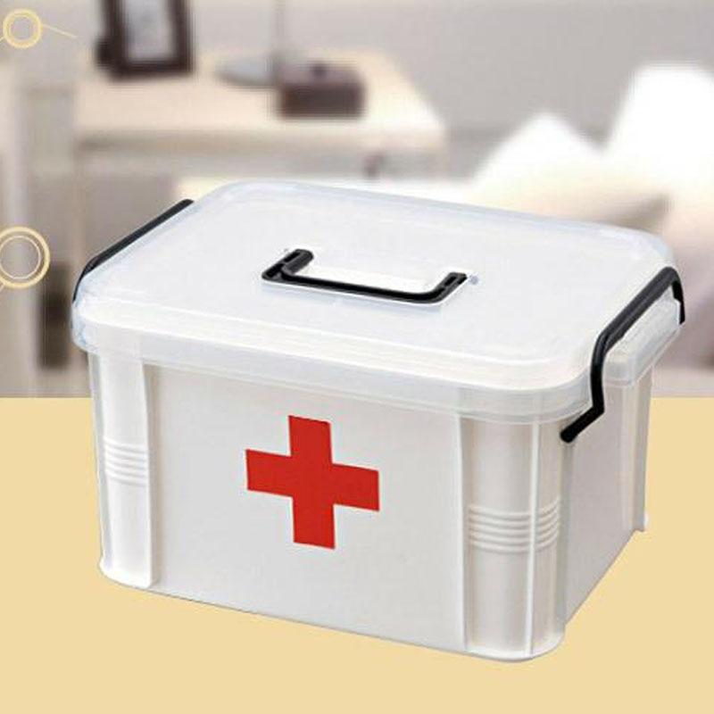 White Plastic Family First Aid Kit  Medicine Box 2 Layers Portable Mobile Camping Survival Emergency Drug Storage Box DJB002