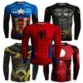2016 Otoño Nueva Moda Hombres de la Camisa de Compresión de Fitness Superman Batman Capitán América Spiderman Iron Man camiseta Ropa Suave