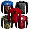 2016 Outono Moda de Nova Camisa Dos Homens De Compressão De Fitness Superman Spiderman Batman Capitão América Homem De Ferro tshirt Roupas Suave