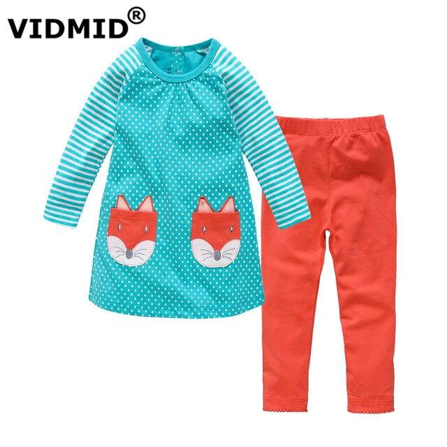 VIDMID Весна Осень детские Наборы Длинные Рукава рубашки и Хлопчатобумажные Брюки Девушки Одежда Наборы детская Одежда для девочек для Детей одежда