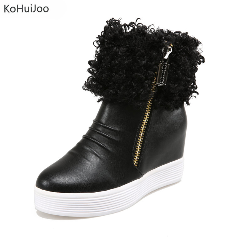 KoHuiJoo Hot Sale Shoes Women Boots Solid Zipper Soft Cute Women Snow Boots Round Toe Flat Heels with Winter Fur Ankle Boots 2017 new arrival hot sale women boots solid bowtie slip on soft cute women snow boots round toe flat with winter shoes wsz31