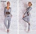 1 set leopard knots women's slim tracksuit lady hooded crop tops and pants zip XS-L