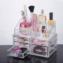 Transparent Acrylic Makeup Brush Bucket Multi grid Storage Box Dresser eyebrow pencil mascara Lipstick 24cm 15cm