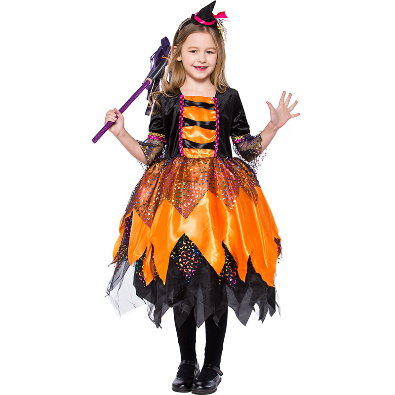 Pretty Orange Moon Night  Sparkly Accents Witch Girls Halloween Costume