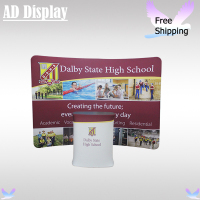 10ft Portable C-Shaped Stretch Fabric Banner Display Wall With Podium Oval Table Or Podium Square Table(Optional)
