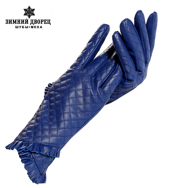 Gloves women,Genuine Leather,Cotton lining,blue leather gloves,leather gloves for women,Female gloves-in Women's Gloves from Apparel Accessories