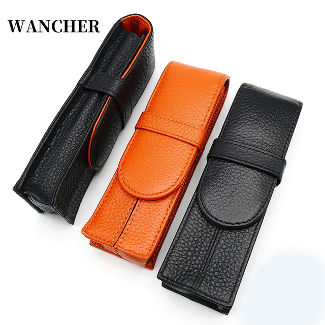 Wancher Two pen packed Kraft pen bags separated by two sided leather of pure color stationery case