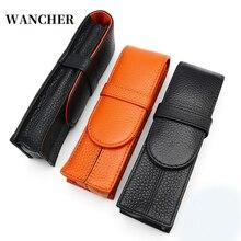 Wancher iki kalem paketlenmiş Kraft kalem çanta ayrılmış iki taraflı deri saf renk kırtasiye çantası