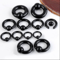 Hot Style 2pcs 8-20mm Indian Nose Ring Black Acrylic Round Captive Bead Ear Piercing Septo Gauge Punk Pircing Oreja Body Jewelry