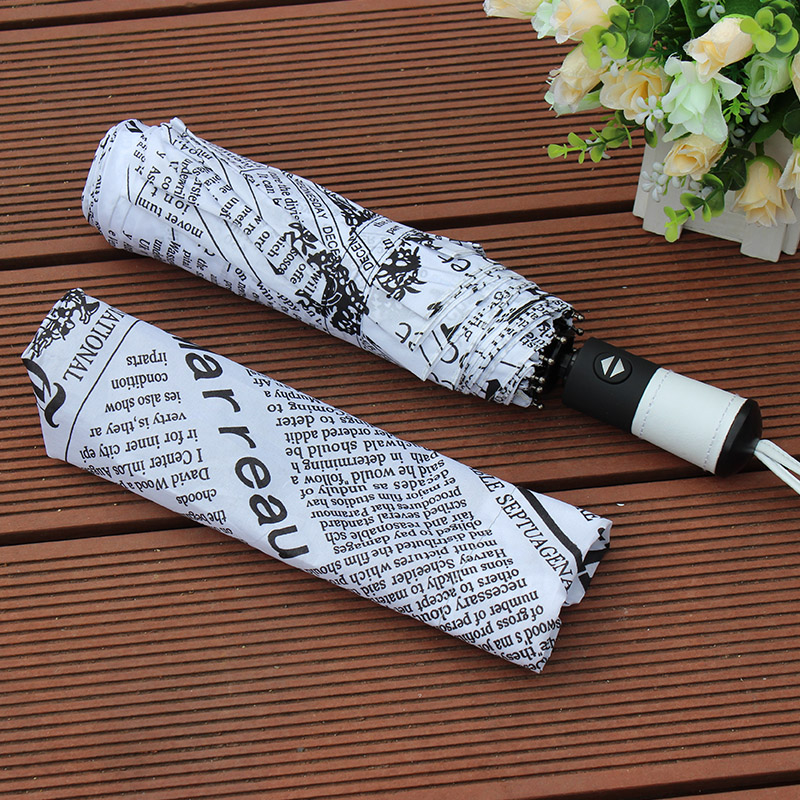 Automatic Umbrella Three-folding Newspaper Umbrella Sunny and Rainy Anti-UV  Well Toughness Classic Women Gentle Parasol f70a89a235